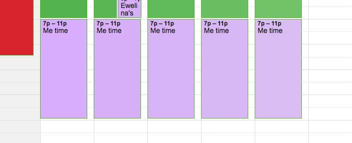 scheduling me time